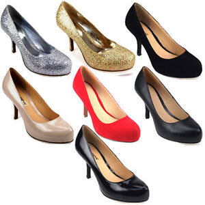 LADIES-WOMENS-MID-LOW-HEEL-COURT-WORK-PARTY-SHOE-BLACK-NUDE-RED-GOLD-SILVER