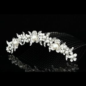 Bridal-Wedding-Rhinestone-Crystal-Pearl-Flower-Prom-Party-Tiara-Comb-V816