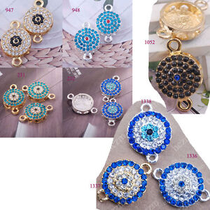 2pcs-Side-Ways-Crystal-Rhinestones-bead-button-Bracelet-Connector-Charm-evil-eye