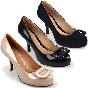 LADIES-WOMENS-MID-LOW-HEEL-COURT-WORK-SHOE-SQUARE-TRIM-BLACK-NUDE-3-8