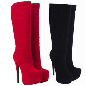 LADIES-WOMENS-BLACK-KNEE-HIGH-HEEL-PLATFORM-SUEDE-BOOTS-SHOES-3-8