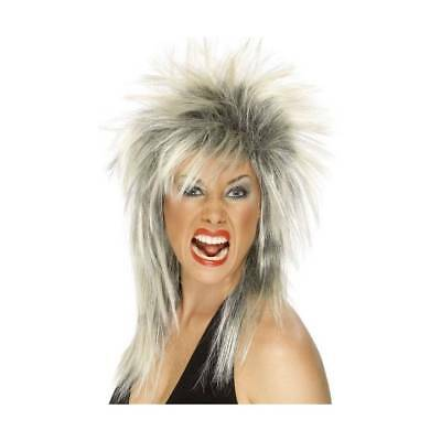 (Adults Silver Glam Rock Star Wig Punk Tina Turner 70s 80s 1980's Fancy Dress)