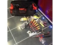 Electricians tool bag with a few tools,including nearly new screwdriver set,onl£20,pos loc delivery