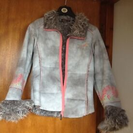 PETITE SIZE 10 ANIMAL FUR LINED JACKET WITH LIGHT GREY SOFT PEACH-FEEL MATERIAL - GOOD CONDITION