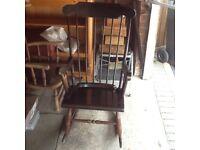 Dark wood rocking chair