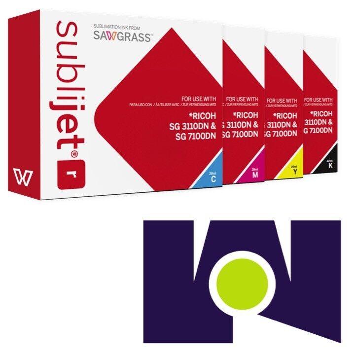 Sawgrass Sublijet Ink Sublimation Ink Cartridges 3110 (CMYK) Set …