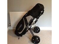 Ladies unused golf clubs and trolley