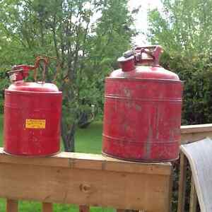 2 Red Metal Vintage Gas Cans