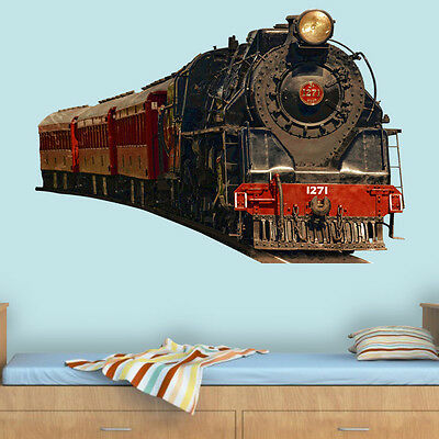Vintage Train Wall Decal Locomotive Wall Decor Peel And Stick Mural VWAQ-PAS2](Train Decor)