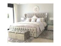 CHEAPEST PRICE EVER-- BRAND NEW DOUBLE Crushed Velvet Designer OXFORD Bed and Mattress Range