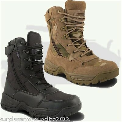 MILITARY SPECIAL OPS MTP BLACK BOOTS ZIP UP SIZE 4 - 12 MENS BRITISH ARMY BIKERS