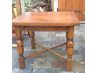 Used original solid wood extendable traditional table. 1950s. 3' x3' top but extends to 3' X 5' .
