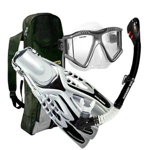 U.S. Divers Purge Mask, Reach Power Fins, Dry Snorkel Set with Bag, Black 9-13