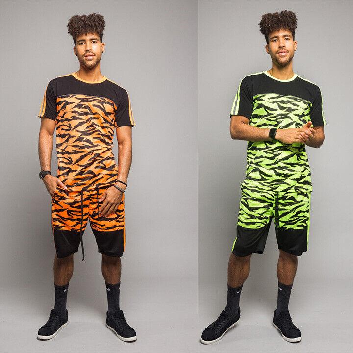 Men's Reflective Tiger Camo Tracksuit Short Set T-Shirt and