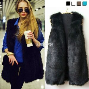 Faux-Fur-Body-Warmer-Women-Lady-Vest-Waistcoat-Gilet-Sleeveless-Jacket-Black-New