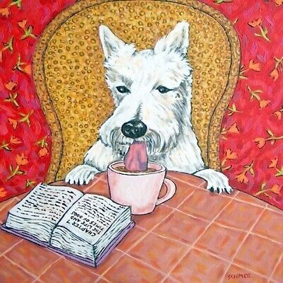 scottish terrier coffee dog gift art tile coaster   ()