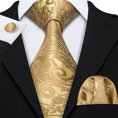 USA Yellow Gold Paisley Tie Set Mens Silk Necktie Pocket Square Cufflinks Party ()