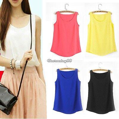 Fashion Women Casual Chiffon Sleeveless Shirt Vest Tank Tops Blouse Waistcoat C1 (Fashion Women Casual Chiffon)