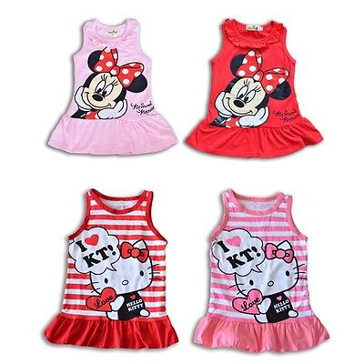 Pink & Red Minnie Mouse & Hello Kitty Summer Dress For Toddler Girl (2T-3T-4T) - Minnie Mouse Pink Dress