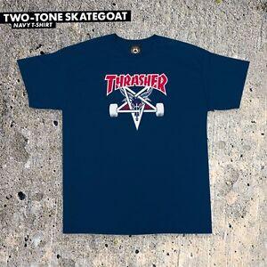 Thrasher-Magazine-TWO-TONE-SKATE-GOAT-Skateboard-Shirt-NAVY-XL