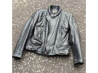 BLACK LEATHER MOTORBIKE JACKET