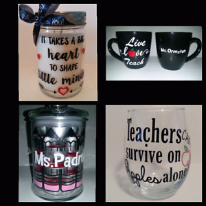 Teachers gifts. Candles, Mugs, Wine glasses