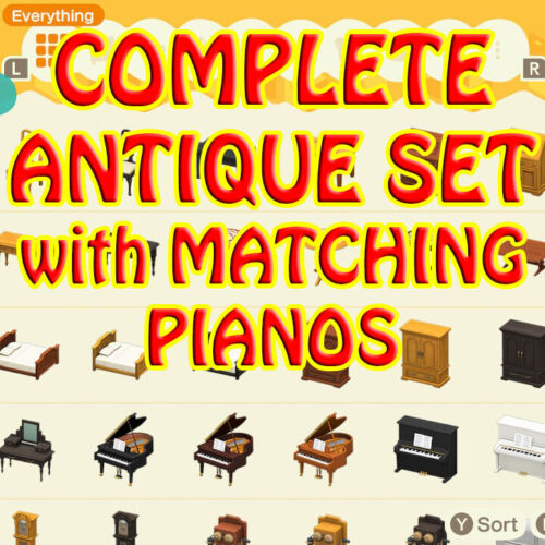 ACNH🎁🔔🍦🐟🌟antique furniture set 10pc (all 3 colors) + matching pianos🎉🍄🌹