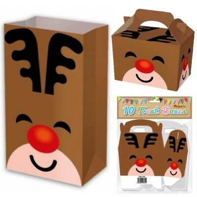 CHRISTMAS REINDEER BOX PAPER BAG PARTY FOOD BOXES XMAS EVE SWEETS TREAT BOXES