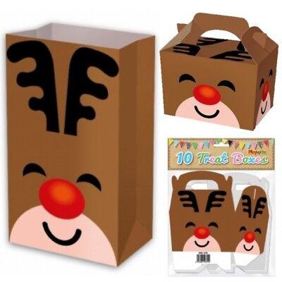 Paper Bag Reindeer (CHRISTMAS REINDEER BOX PAPER BAG PARTY FOOD BOXES XMAS EVE SWEETS TREAT)