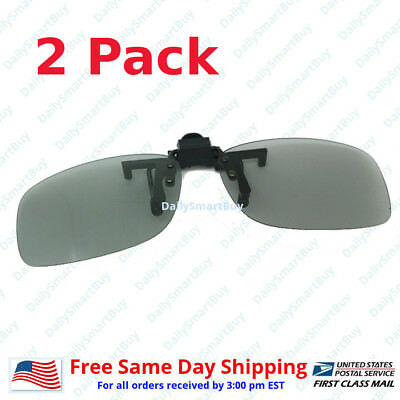 2 Pairs Clip-On Passive 3D Glasses with Polarized Plastic Lenses for LG LCD HDTV - 3 D Glasses
