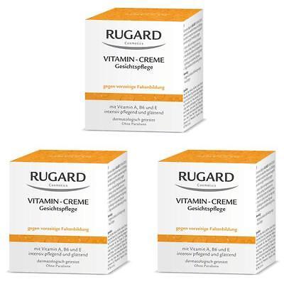 RUGARD VITAMIN CREME 3x100ml Antifaltenpflege für trockene Gesichtshaut + PROBEN