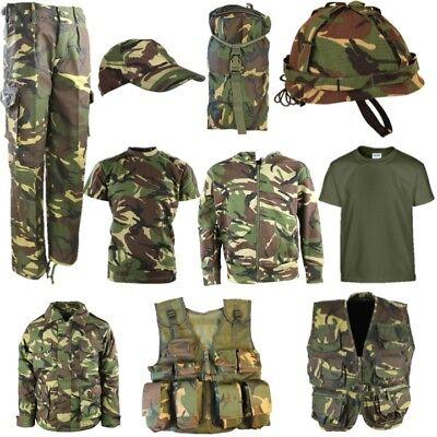 Armee Kinder Kostüme (Kinder Armee T-Shirt Hosen Weste Helm Kappe Mantel Tasche Jungen Kostüm Dpm Camo)