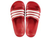 Adidas Duramo men Sliders-Red (size 6,7,8,9, 10 and 11)