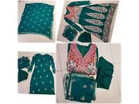 New asian embroidery floral green dress suit