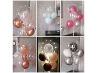 Balloons on a stand with lights