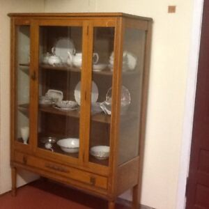 Solid oak and glass China cupboard - almost 100 years old