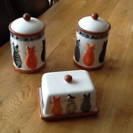 2 Cat Canisters with cat butter dish