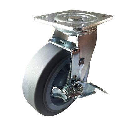 6 X 2 Heavy Duty Non-marking Rubber Wheel Caster - Swivel With Brake Flat