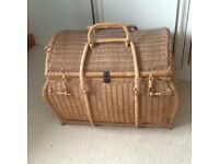 Vintage large wicker blanket hamper