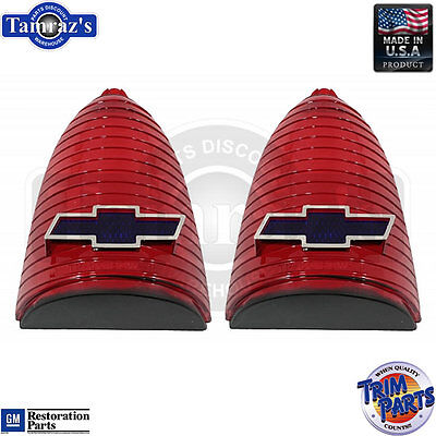55 Chevy Taillight Tail Light Lamp Lenses Blue-Dot Chrome Bowtie  Made in USA ()