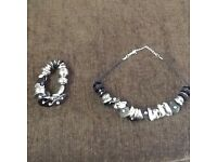 Black silver metal necklace and bracelet