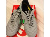 Nike Tiempo Legend Grey and Green AG Size 5.5 - Used