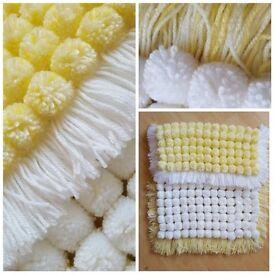 handmade pom pom blankets