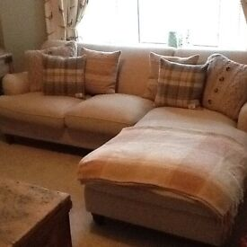 MADE chaise end sofa in natural fabric