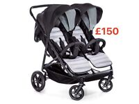 EXDISPLAY HAUCK RAPID 3rduo side by side twin double pram pushchair black grey birth to 36 kg £149