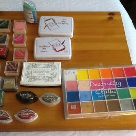 A variety of ink pads for sale& chalks