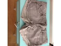 PAIR OF MANGO GREY DENIM SHORTS. SIZE 10.