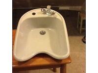 3 Grey porcelain backwash basins