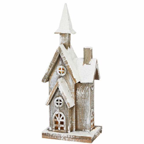 "Raz Imports Lighted Church Large 15"" New Lighted w Timer Raz Wood Church Snow"