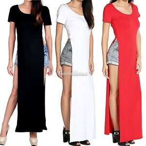 ... -Womens-Open-Side-Split-Slits-Dress-Summer-Solid-Long-Maxi-T-shirt-SH